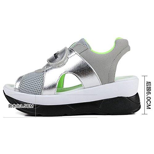 Mesh Womens Trainers Slip Peep Green Toe Sandals Hattie Casual Running Platform On EgqSAS