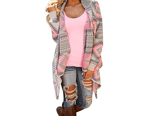 [Beautyvan, Women Geometric Printed Long Sleeve Cotton Kimono Cardigan Coat (S, Pink)] (S Costume Ideas For Women)
