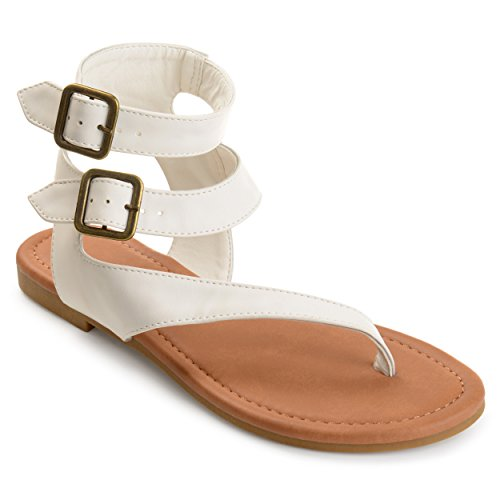Journee Collection Womens Double Wrap Buckle Thong Sandals White, 8 Regular US