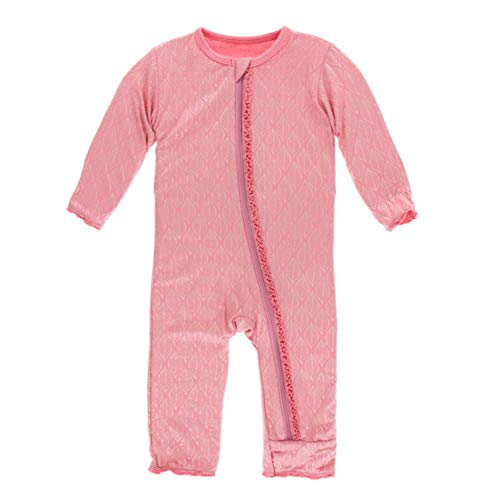 KicKee Pants Print Muffin Ruffle Coverall with Zipper in Desert Rose Gold Leaf, 18-24 - Ruffle Coverall