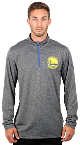 UNK NBA Adult Men Quarter Zip Pullover Shirt Athletic Quick Dry Tee, Charcoal, Heather, - Athletic Heather Apparel