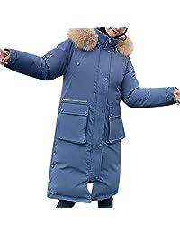 FEDULK Women's Winter Windproof Long Coat Faux Fur Hood Maxi Down Parka Thicken Warm Jacket