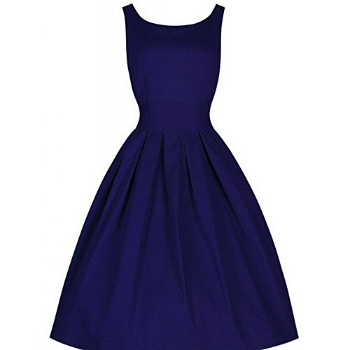 Ärmellos Kleid Dress Teamyy Rockabilly Ballkleid Blau Retro Vintage Cocktailkleid Damen