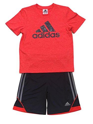 adidas Boys 2 Piece T-Shirt Tee & Shorts Set Athletic Outfit Size 7 (Orange, 5) -