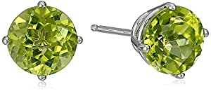 10k White Gold 6mm Round Peridot 4-Prong Stud Earrings