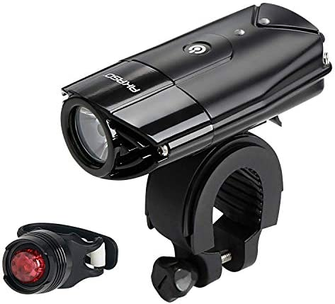 AKASO USB Rechargeable Bike Light Set, Bicycle Lights Front and Back, Waterproof 1000 Lumen Headlight, Free Taillight, Handlebar and Helmet Mount Included