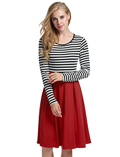 4 Mini Red Stripe Skater Sleeve Fit Long Dresses ACEVOG Dress Neck Slim Scoop Casual Women's 3 YxqfSFfw