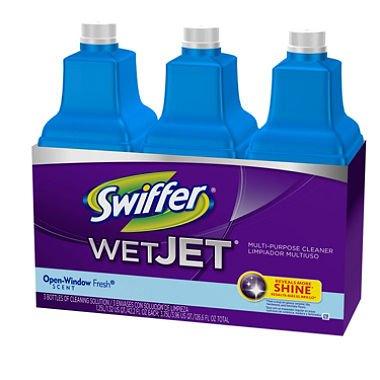 Swiffer WetJet Multi-purpose Floor Cleaner Solution Refill Open Window Fresh Scent 1.25L, Pack of 6