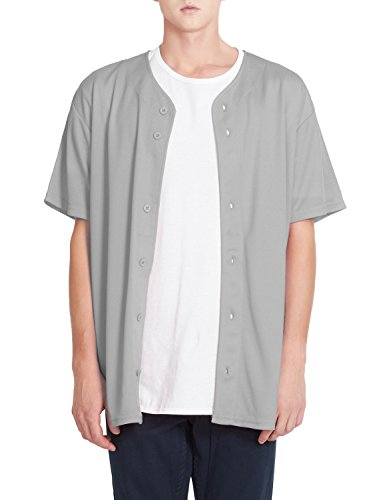 OLLIN1 PREMIUM Mens Full Button Down Mesh Short Sleeve Baseball Jersey Full Button Down Jersey