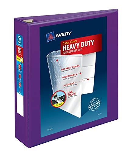 Avery Heavy Duty View 3 Ring Binder, 2 One Touch EZD Ring, Holds 8.5 x 11 Paper, 1 Purple Binder (79777)