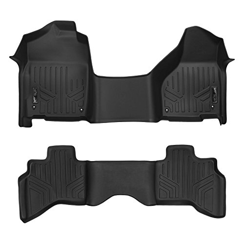 SMARTLINER Floor Mats 2 Row Liner Set Black for 2012-2018 RAM 1500 Quad Cab with 1st Row Bench Seat and Front Dual Floor Hooks ()
