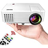 TENKER Mini Projector 50 ANSI, 2019 Video Projector with 170-inch Display, Supports 1080P Fire TV Stick/HDMI/USB/SD Card/AV/VGA for TVs/Laptops/Games (White)