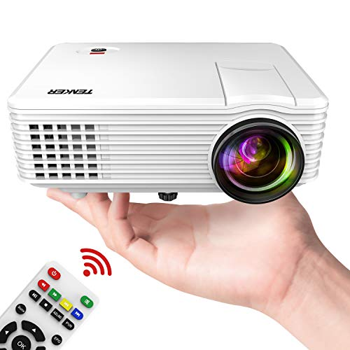 TENKER Mini Projector 50 ANSI, 2019 Video Projector with 170-inch Display, Supports 1080P Fire TV Stick/HDMI/USB/SD Card/AV/VGA for TVs/Laptops/Games