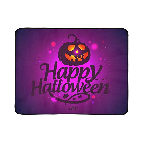 (Happy Halloween Card Pumpkin Portable and Foldable Blanket Mat 60x78 Inch Handy Mat for Camping Picnic Beach Indoor Outdoor)
