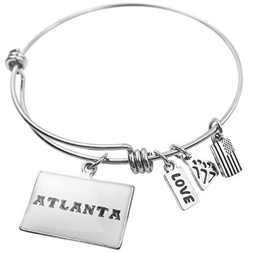 NEONBLOND Expandable Wire Bangle Bracelet Atlanta Crystals Jewel Gems Lettering