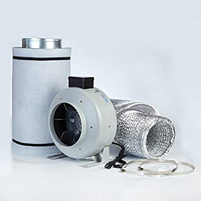 """4"""" 6"""" 8"""" Inline Fan Carbon Filter Fan Combo for Grow Tent Kit and Growing System"""