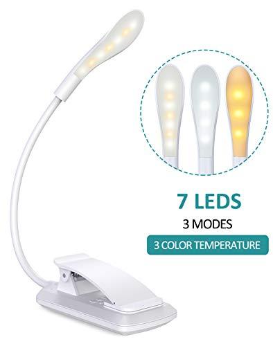 Cocoda Luz Lectura, Lampara Lectura de 360° Flexible con 3 Modos, 7 LED Lampara Pinza Brillo Ajustable con USB Recargable, Sensor Tactil, Luz Nocturna para Leer Libros en la Cama, Kindle (Blanco)