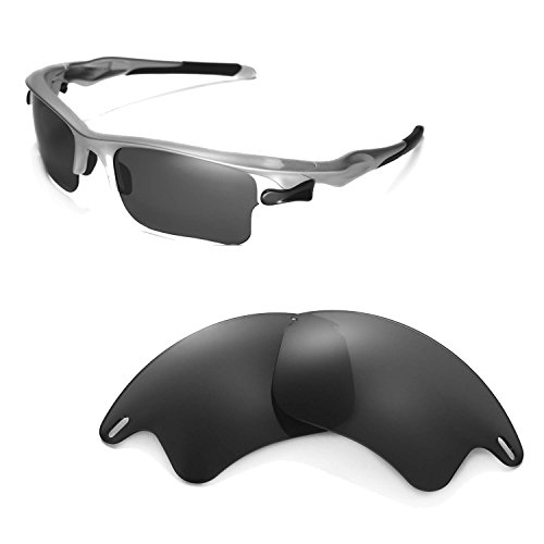 Walleva Replacement Lenses for Oakley Fast Jacket XL Sunglasses -Multiple Options Available (Black - ()