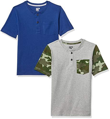Spotted Zebra Toddler Boys' 2-Pack Short-Sleeve Henley Shirts, Camo/Navy, 3T