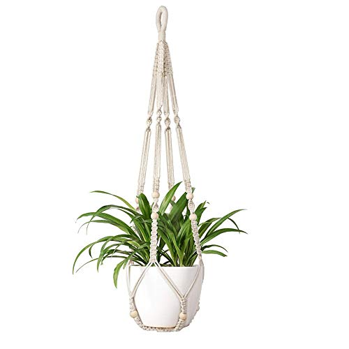 Macrame Plant Hangers Shelf Indoor Hanging Planter Decorative Flower Pot Holder Boho Bohemian Home Decor, 35 L