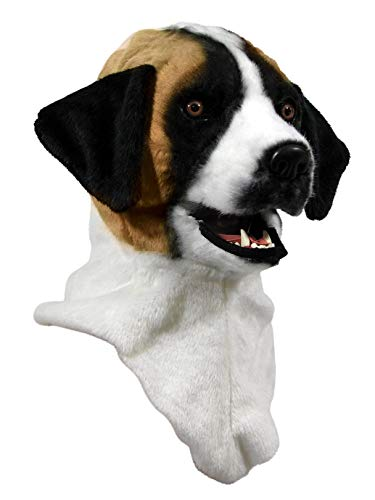 Forum Novelties Unisex-Adult's Moving Jaw Masks-st.Bernard, White/Brown, Standard -