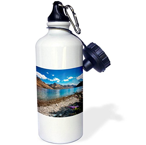 3dRose DanielaPhotography - Landscape, Nature - Beautiful view of Lake Wakatipu from the shore with purple flowers. - 21 oz Sports Water Bottle (wb_281978_1) by 3dRose