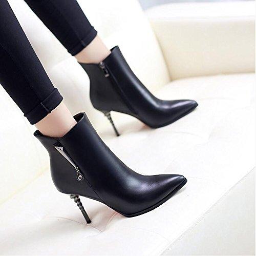de de de de Inglaterra con solo fina invierno zapatos Ultra las Otoño cortas botas altas de botas punta Black lateral taladro agua botas cremallera Martin y mujer HGTYU tAfvxqwwT