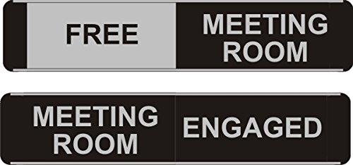 Stewart Superior Bac111 - Señal indicadora de aluminio con textoMeeting Room Vacant/Engaged (255 x 52 mm, aluminio, PVC), negro No-Name 256980
