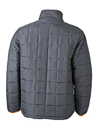 James & Nicholson Men's Padded Light Weight Jacket 3XL,Carbon/Orange