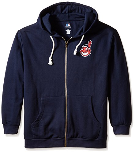 MLB Cleveland Indians Women's Plus Size Zip Hood with Logo, 4X, Navy