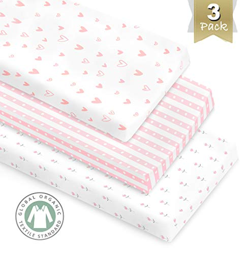 3 Pack GOTS Certified Organic Cotton Changing Pad Covers or Cradle Sheet for Girl, with Safety Strap -
