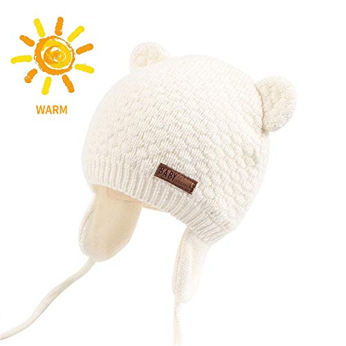BAVST Baby Beanie Hat for Winter with Earfalp Cute Bear Kids Toddler Girls Boys Warm Knit Cap for 0-2Years (White 2, - Kids Knit Cap