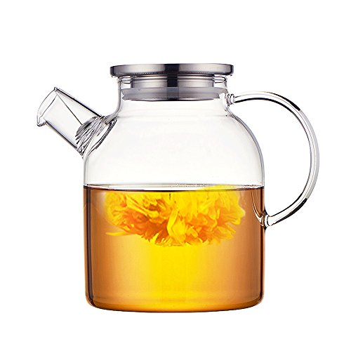 Ceramic Story Glass Water Pitcher With 304 Stainless Steel Lid,Large Water Pot, Glass Teapot, Iced Tea Pitcher, Water Carafe,Gas & Electric Ceramic Stovetop Safe (1.6L)