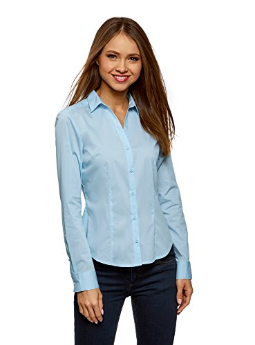 Ultra Femme en V Bleu oodji Basique Chemise 7000n Col 7Rddwq5