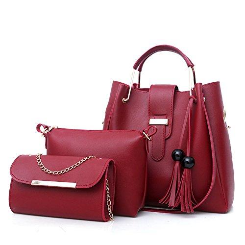Bolso Grande Diagonal de Las Mujeres - Tamaño: 20 * 6 * 15cm Correa de Hombro Ajustable Correa de Viaje de Metal de Cuatro Colores PU Manejar Lady Bag Red