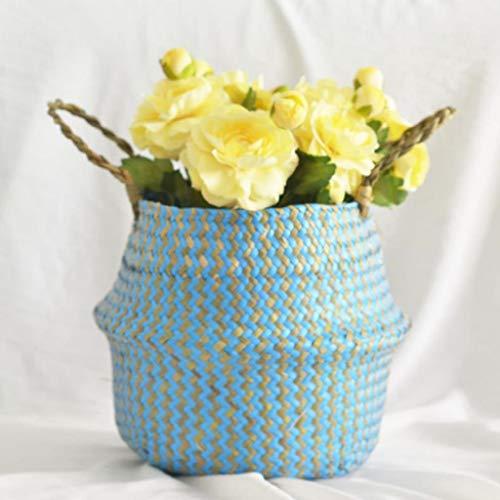 Sunnyys Seagrass Wicker Basket Flower Pot Folding Basket Dirty Basket Storage Decoration