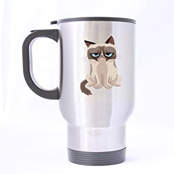 Generic diseño especial de dibujos animados versión de Grumpy diseño de gato taza de viaje personalizado ...