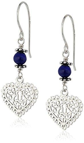 Lapis French Wire Earrings (Sterling Silver Filigree Heart Lapis Drop Earrings)