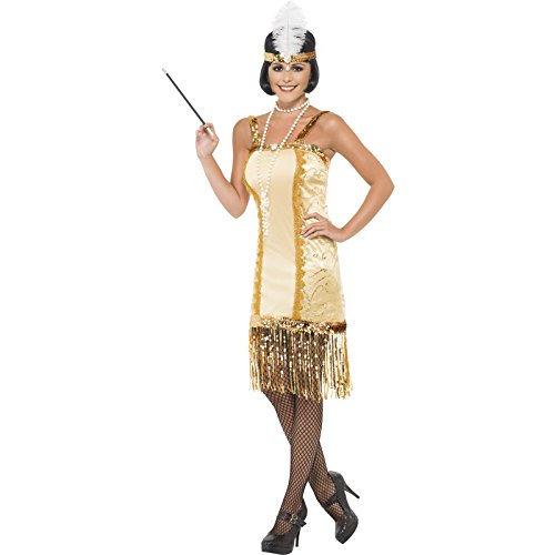 Smiffy's Women's Charleston Flapper Costume, Dress and Headpiece, 20's Razzle Dazzle, Serious Fun, Size 10-12, (Charleston Man Costume)