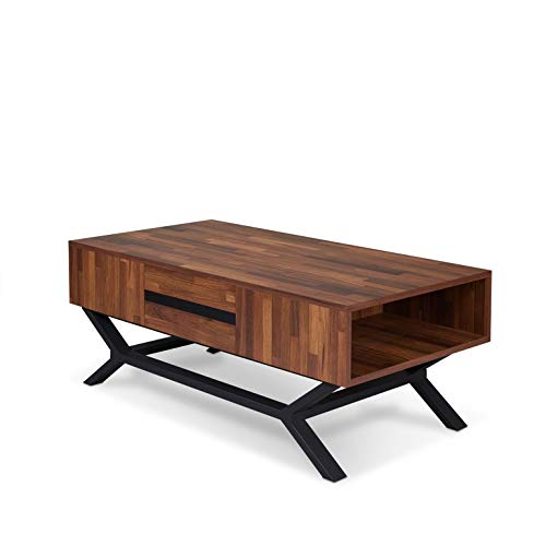 "Major-Q 9080620 18"" H Contemporary Style Walnut Finish Wooden Top Sandy Black Metal Leg Coffee Table"