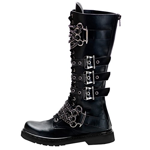 [Mens Knee High Boots Black Shoes Brass Knuckles Vegan Combat Boots 1 Inch Heel Size: 10] (Mens Black Knee High Boots)