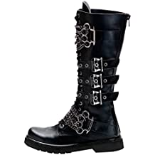 Summitfashions Mens Knee High Boots Black Shoes Brass Knuckles Vegan Combat Boots 1 Inch Heel
