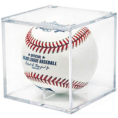 - Baseball Display Case, UV Protected Acrylic Cube Baseball Holder Square Clear Box Memorabilia Display & Storage Sports Official Baseball Display Case - Autograph Display - Fits Official Size Ball