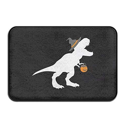 Nick Thoreaufhed T-Rex Witch Halloween Funny Dinosaur Non-Slip Doormat Cute Rubber Door Rug Bath Mat All Weather Absorbent for Entrance Way Outdoors,Farmhouse,Patio Etc ()