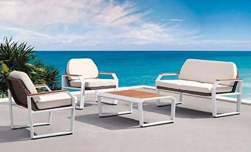 Conjunto sofas de terraza y jardin aluminio blanco rattan y teka Drone: Amazon.es: Jardín