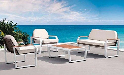 Conjunto Sofas De Terraza Y Jardin Aluminio Blanco Rattan Y