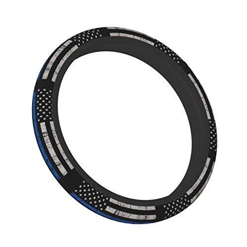 XINQIXAA 얇은 블루 라인 미국의 국기를 핸들 커버 자동차 스티어링 휠을 덮는 보호자 반대로-미끄러짐 튼튼한 보편적인 15 인치 맞는 대부분의 자동차