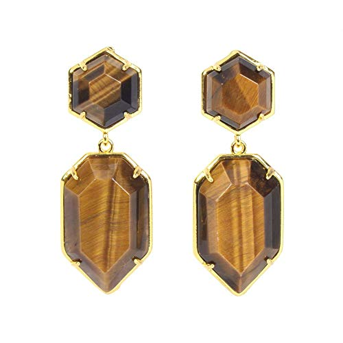 Faceted Tiger - Natural Golden Tiger's Eye Healing Crystal Faceted Geometric Hexagon Statement Studs Earrings