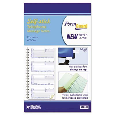Rediform FormGuard Telephone Message Book, Carbonless, Self-Adhesive, 400 Messages, 2 Part, 2.75 x 5.5 Inches (50750R) by Rediform