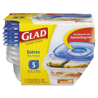 Glad 25 oz Entree Containers with Lids 5 ct